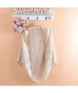Women's White Puff Sleeve Cardigan Knitted Coat Jacket