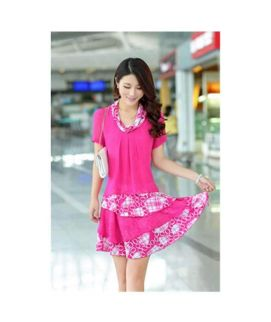 Women's Pink Chiffon Silk Mini Dress