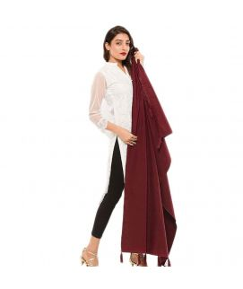Women's Red Cotton Chamois Shawl 28X80