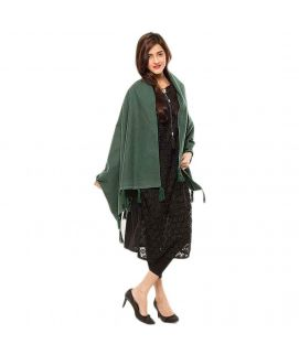 Women's Green Cotton Chamois Shawl 28X80