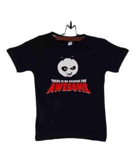Black Cotton Kung Fu Panda T-Shirt For Kids