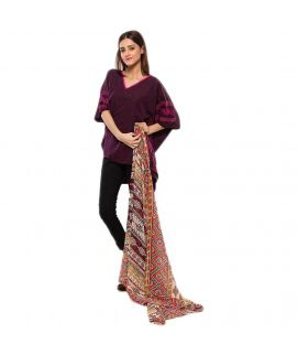 Women's Swiss Lawn Brown & Red Printed Duppata