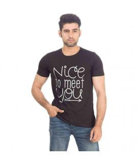 Black Jersey Nice To Meet You T-Shirt for Men