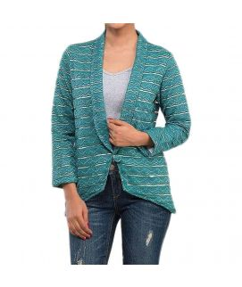 Dark Green Lace Printed Blazer with Inner Lining for Women