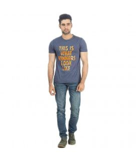 Blue Marl Jersey Printed T-Shirt for Men