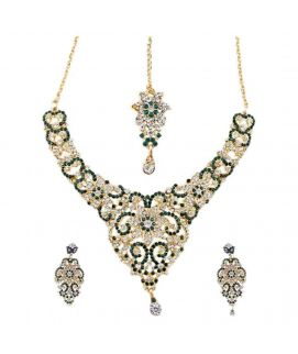 Fakhars And Sons Immitation Lead Bridal Set with Teeka and Earrings   Green