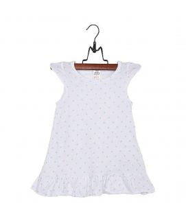 Fashion Café White & Sky Blue Cotton Jersey Top with Printed Front for Girls
