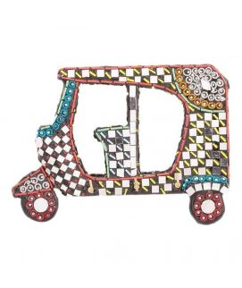 Handmade Mirror Work & Delicately Beaded Classic Wall Hanging Rickshaw Decoration Piece