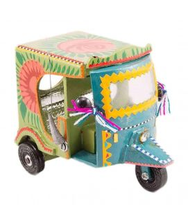 Hand Painted Floral Design Classic Rickshaw Decoration Piece