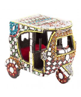 Handmade Mirror Work & Beaded Classic Rickshaw Decoration Piece