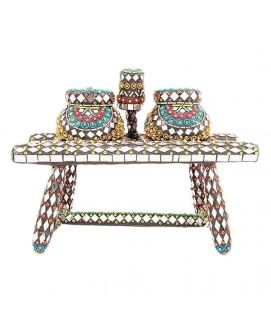 Mirror Work & Hand Embroided Matka And Stand Classic Heavy Decoartion Piece