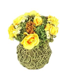 Yellow Roses Flower Dried Bamboo Artificial Vase