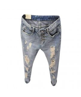 Women's Ripped Button Fly Jeans