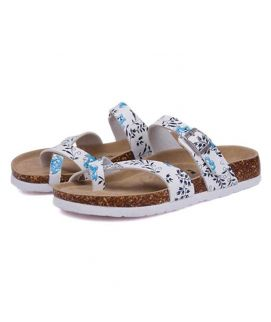 Women's White Flower Print Straps Slippers