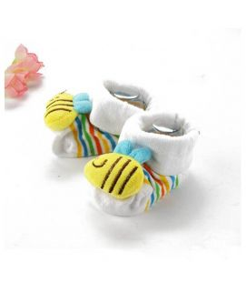 White Bee Sock Style Baby Shoes