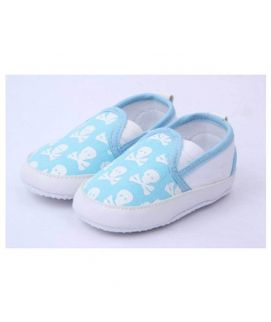 Sky Blue Skul Design Baby Shoes