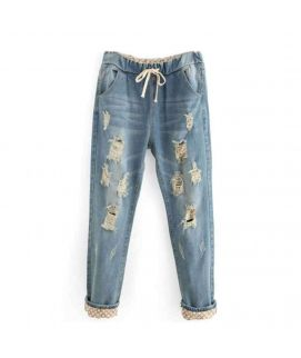 Women's Ripped Baggy Jeans Blue