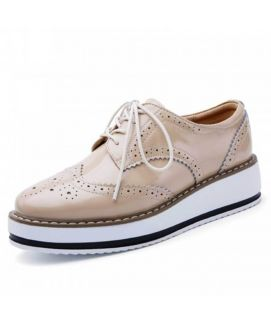Womne's Oxfords Cream Leather Lace Up Shoes