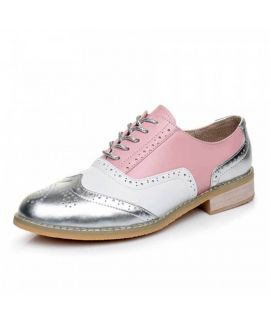 Womne's Oxfords Pink Leather Lace Up Shoes