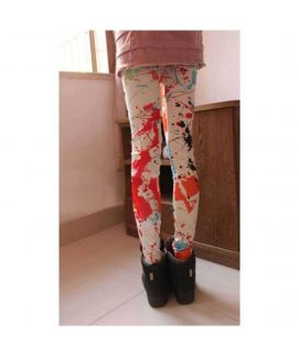 Women's Vintage Graffiti Ink Printing Tights