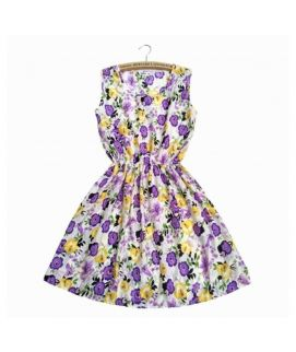Women's Printed Purple Flower Frock
