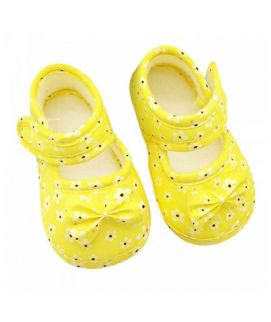 yellow Black Dotted Single Strape Baby Shoes
