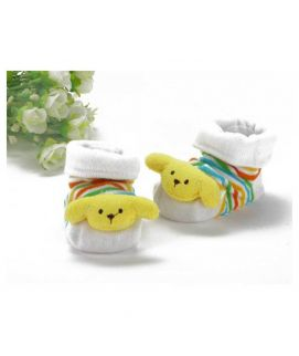 White Multicolor Poo Face Sock Baby Shoes