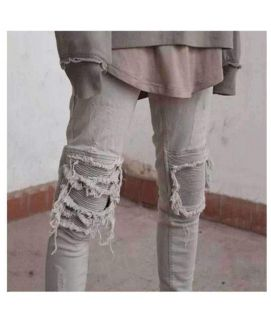Men's White Ripped Style Jeans