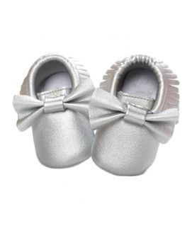 Shining Silver Bow Knot New Born Baby Sandles