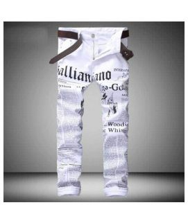 Men's White Graphic Print Jeans