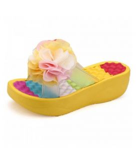 Women's Yellow Wedges Sandals