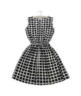Women's Sleeveless Round Neck Checked Frock