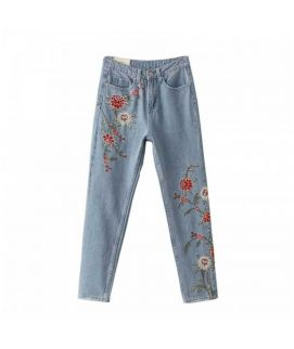 Women's Sky Blue Flower Print Short Jeans
