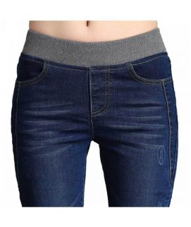Women's Skin Fit Navy Blue Elastic Jeans