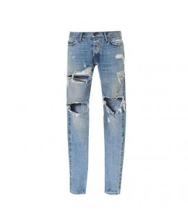 Men's Trendy Blue Damaged Jeans