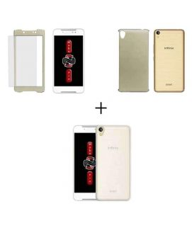 Bundle Infinix Note 4 X572 Case with Glass Screen Protector and Gel Case Gold