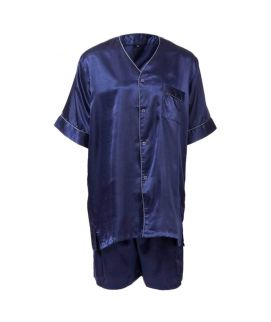 Polyster Solid Satin Men's Short Pj Set With Piping Blue