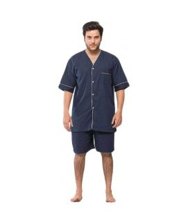 Navy Blue Cotton & Polyester Nightwear for Men