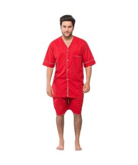 Red Cotton & Polyester Nightwear for Men