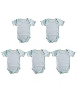 Medium Blue 5 Pcs Set Of Unisex Rompers For 6-12 Months Old Babies