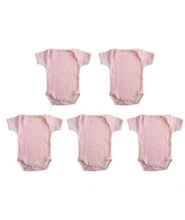 Pink 5 Pcs Set Of Unisex Rompers For 3-6 Months Old Babies