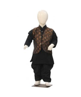 Boys Black Shalwar Qameez With Brown Waistcoat