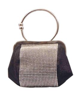 Black & Silver Pearl Beaded Clutch For Women's