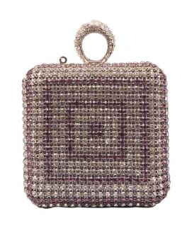All Purple Crystal Clutch For Women's