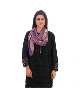 Women's Swiss Lawn Purple Printed Stoles