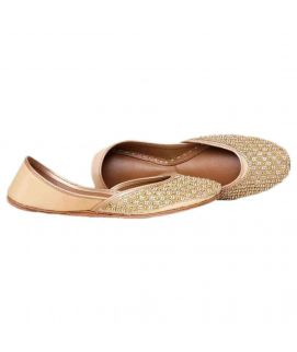 Women's Stylish Golden Leather Embroidered Khussa