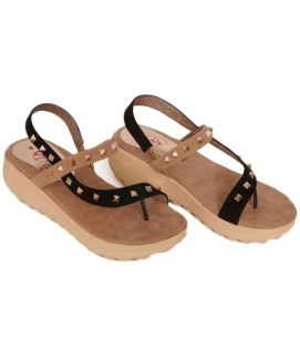 Women's Strap Stone Work Brown Wedges