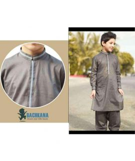 Boy's Grey Shalwar Kameez