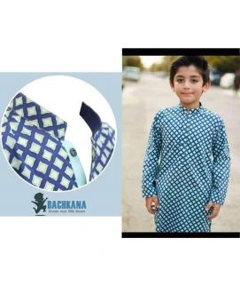 Blue Cotton Boy's  Kurta with White Pajama