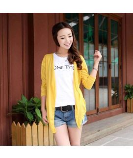 Women's Thin Coat Yellow Cardigan
